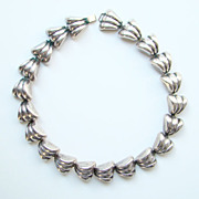 Fred Frederick Davis Sterling Silver Link Necklace Taxco Mexico Early Mark C1930s