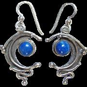 Vintage Sterling Silver Lapis Modernist Style Dangle Pierced Earrings