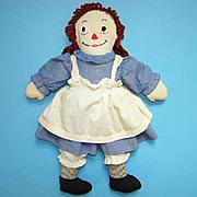 Raggedy Ann Doll in Blue Cotton Dress Red Hair