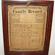 C1840 American Schoolgirl Pen and Ink Family Record Towne Family 13 Children