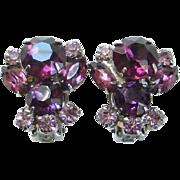 Vintage Amethyst Lavender Rhinestone Clip Earrings Silvertone Setting