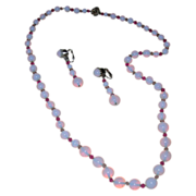 SALE Vintage Opalescent Glass Beaded Necklace and Earring Set