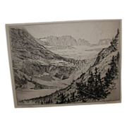 REDUCED Vintage Grinnell Glacier Art Etching Circa 1920's