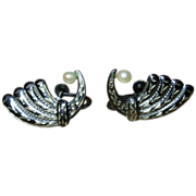REDUCED Vintage Sterling Silver Screw Back Earrings with Pearls