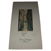 "REDUCED Vintage Signed Drawing ""Canale del Lovo"" by John E Mostyn Dated 1913"