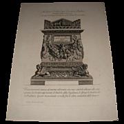 REDUCED Antique Italian Engraving by Giovanni Piranesi