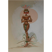 REDUCED Vintage Tahitian Drawing 1940's