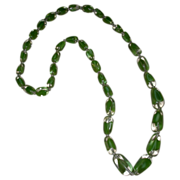 REDUCED Vintage Green Glass Graduated Beaded Necklace