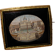 REDUCED Antique 1850's Micro Mosaic Pin Brooch of St Peter's Rome