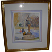 "REDUCED Signed Watercolor by Artist Gary David Hoffmann ""Japanese Lantern"""