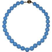 REDUCED Vintage Heavy Blue Glass Beaded Choker Necklace