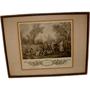 REDUCED Vintage French Art Etching in Frame L' Ete Paris
