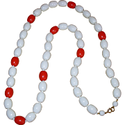 SALE Vintage Glass Summer White & Red Beaded Necklace