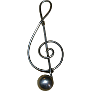 SALE Vintage Sterling Silver Music Note Pin Brooch