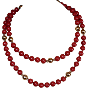 SALE Vintage Red Jasper Beaded Necklace