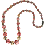 SALE Vintage Pink & Clear Crystal Beaded Necklace