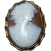 SALE Vintage 10kt Gold Carved Shell Cameo Pin Brooch