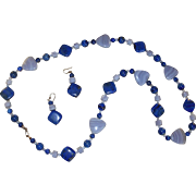 SALE Beaded Lapis Long Necklace with Matching Earrings Jewelry Set