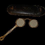 Antique Lorgnette Foldup Opera Glasses in Original Case