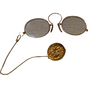 SOLD Antique Lorgnette Eyeglasses w/ Chain on Art Nouveau Pin