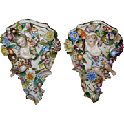 Antique German Porcelain Pair of Shelves Sitzendorf Mark 1887-1900