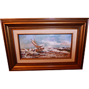 "Hand Painted Enamel on Copper Signed Ship Seascape ""Rough Seas"" by Richard"