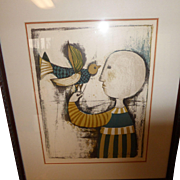 "Collectible Art Graciela Rodo Boulanger Signed Lithograph ""Bird Suite IV"" in Frame"