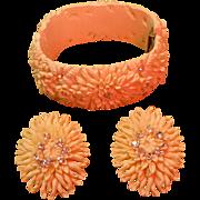 Vintage Resin Rhinestone Clamper Bracelet and Matching Clip Earrings