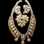 Vintage Milk Glass Rhinestone Demi Parure Necklace Pin & Earring Set Estate Jewelry