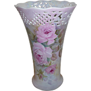 Beautiful Large Hand Painted Roses Floral Signed Porcelain Vase