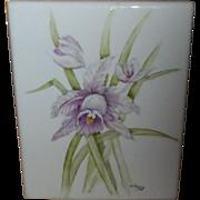 Hand Painted Porcelain Tile Floral Iris Design Signed