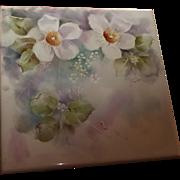 Hand Painted Porcelain Tile Floral Design Signed