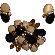 Vintage Signed Eisenberg Rhinestone Pin /  Brooch & Earring Set