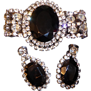 Vintage Large Rhinestone Wide Bracelet and Matching Clip Earrings Set