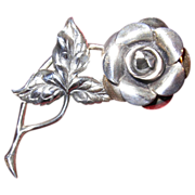 REDUCED Lovely Vintage Beau Sterling Silver Rose Pin