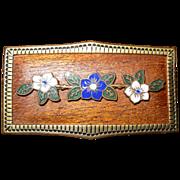 REDUCED Antique Floral Enameled Unique Pin