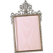 SALE French Soft Paste Jeweled Bronze Locket Picture Frame
