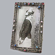 SALE Czech Jeweled Picture Frame