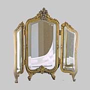 SALE Victorian French Dore' Bronze Triptych Mirror