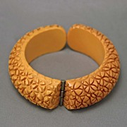 SALE Vintage Butterscotch Heavily Carved  Floral Bakelite Clamp Bracelet