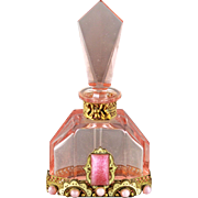 SALE Czech Art Deco Pink Jeweled Perfume Bottle