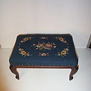 REDUCED Early 20th century Blue Needlepoint Footrest with Floral Design