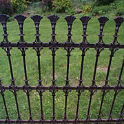 REDUCED ca. 1865 Wrought Iron Fencing with Fan Finials