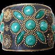 Ornate Jeweled Enamel Bangle.  1980's.