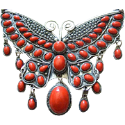 Huge Jeweled Glass Butterfly Pendant.  1970's.