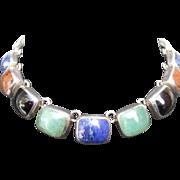Mexican Sterling Semi-Precious Choker Necklace