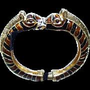 Ken Lane Vintage Enamel Zebra Bracelet.