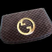 Gucci Brown Suede Logo Blondie Clutch Bag. 1970's.