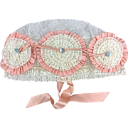 1920's  Creme Lace and Peach Satin Boudoir Cap.