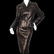Christian Lacroix Brown Leather Suit.  1990's.